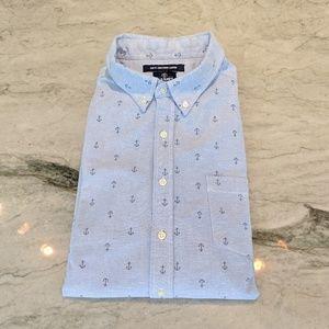 Blue Nautical Anchor Button Front Shirt